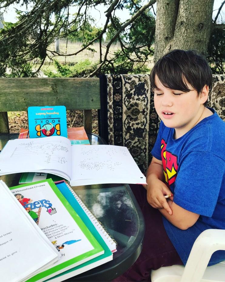 Homeschooling day outside