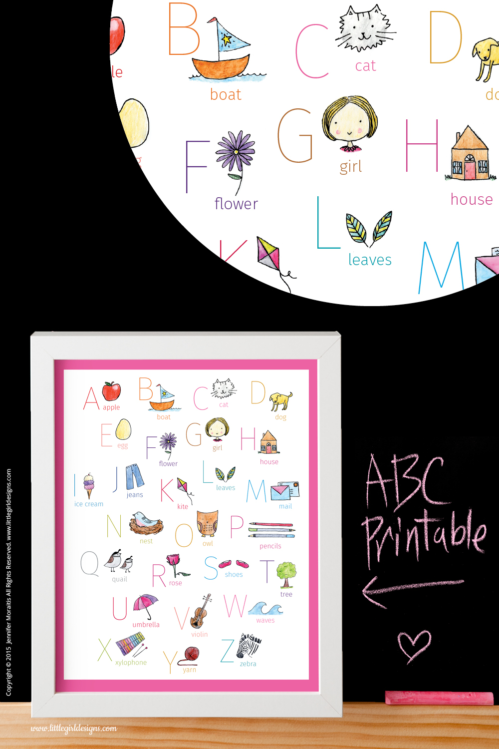 ABC Printable in pink