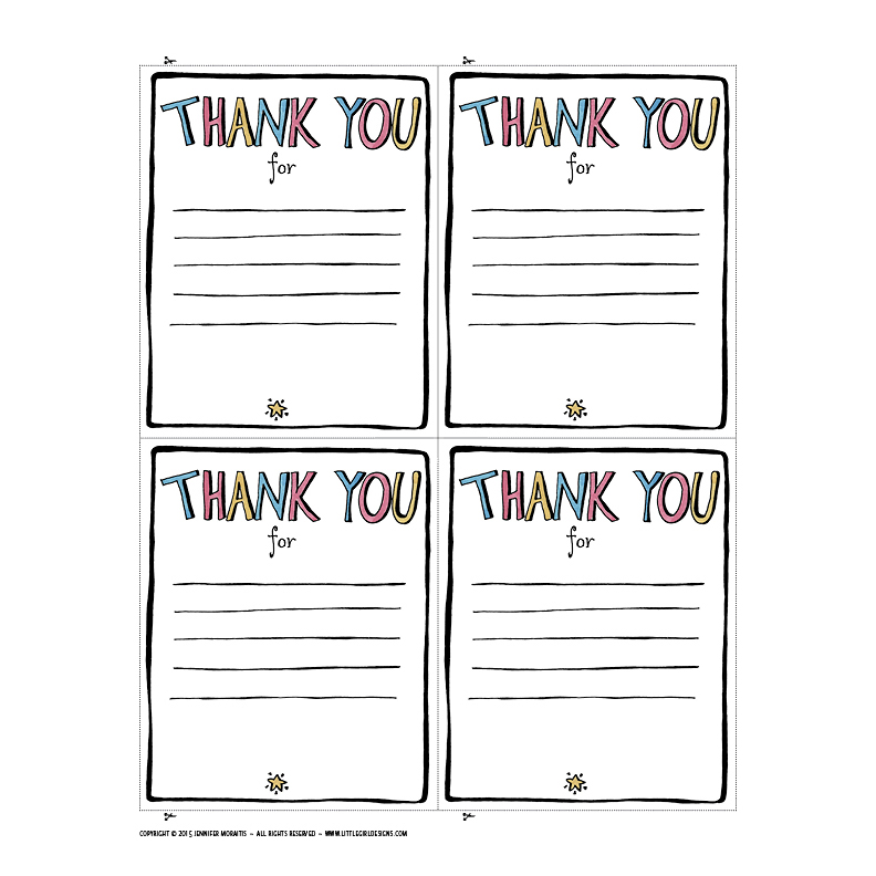 Thank You Printable Jennie Moraitis