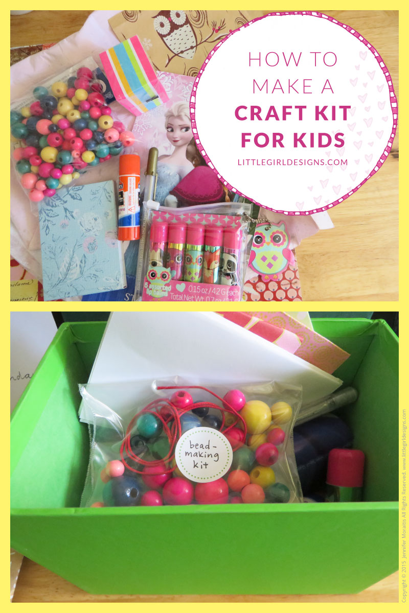 How to Make a Craft Kit for Kids - I'm a big fan of craft kits because you can customize them to the individual (and making your own is less expensive than buying them premade too!) I share how I made a craft kit for my nieces and nephew and give tips for making your own unique gift. @littlegirldesigns.com