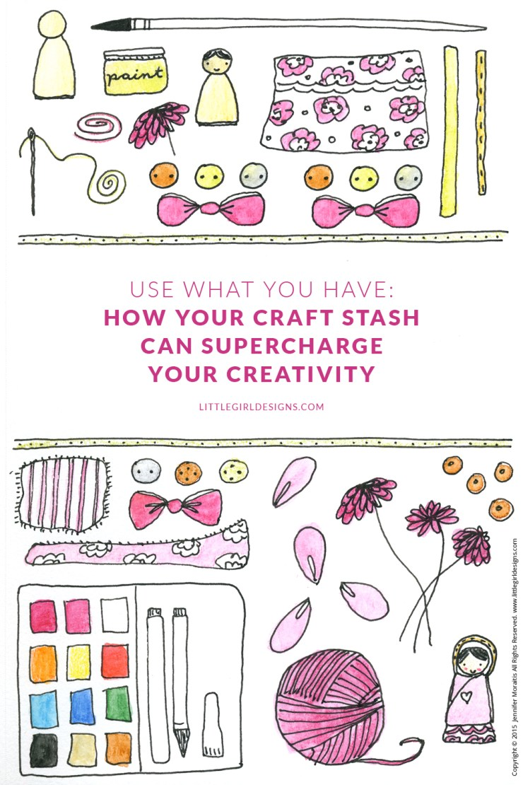 "Use What You Have: How Your Craft Stash Can Supercharge Your Creativity - You look at your craft drawers and sigh, ""What a mess!"" or walk into your gorgeous craft room and sigh contentedly. Whatever the case, what you might not realize is you are looking at the source to some serious creativity! This is the second in a series about using what you have @littlegirldesigns.com"
