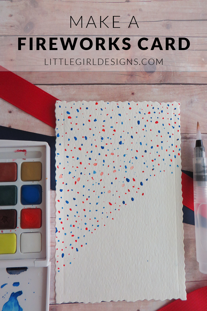 How to Make a Fireworks Card - a super simple tutorial to make your own fireworks card. This is a kid-friendly craft and would also make a great gift! @ littlegirldesigns.com