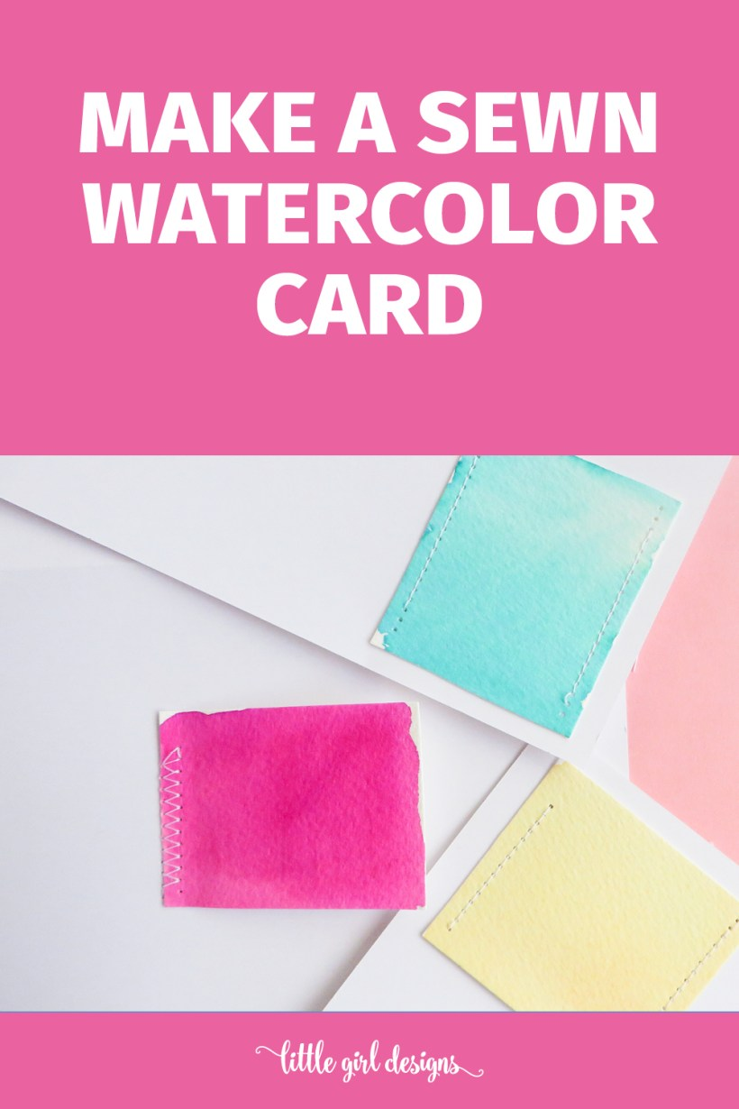 Make these simple sewn watercolor cards to send sweet snail mail or to send as a gift! What a great idea.