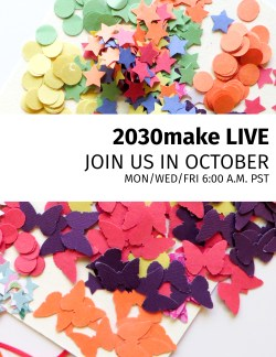 For the month of October, I'm going to be doing a livestream on Facebook every Monday, Wednesday, and Friday at 6:00 a.m. We'll be doing 2030make (our creative challenge) together, and it's going to be fun! We'll tackle creative blocks together, talk about inspiration, and much MORE. Can't wait to do this with you. :)