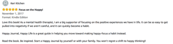 It's so important to focus on the positive, as this reviewer points out.