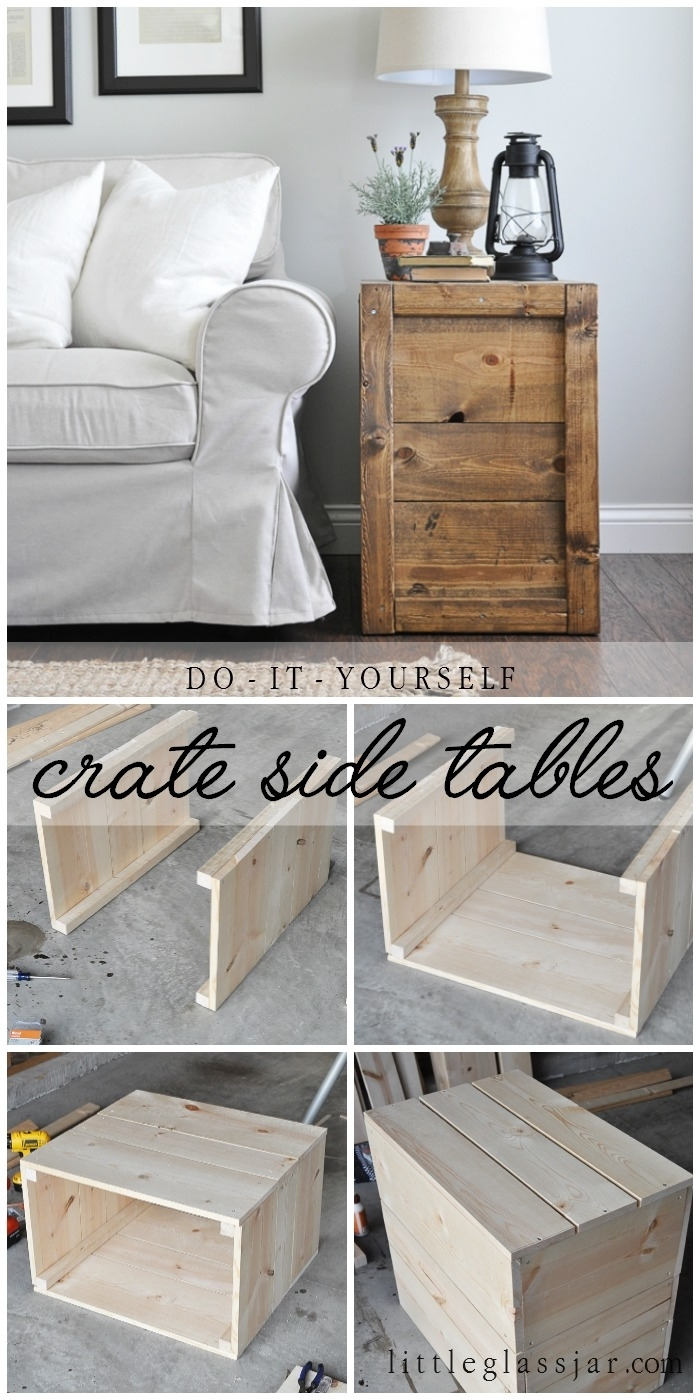 Crate Side Tables Little Glass Jar