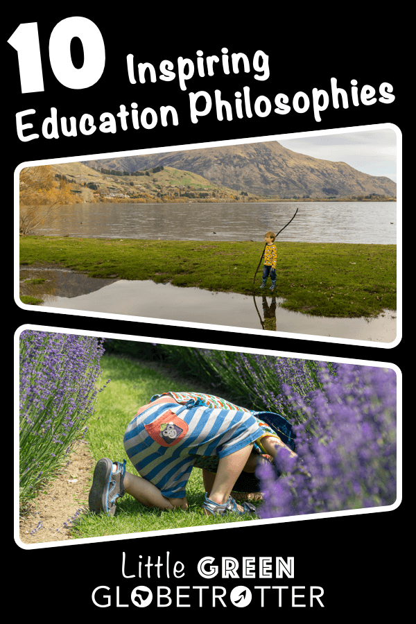 Pintrest image consisting of two photographs of a child exploring outside, with the title '10 Inspiring Education Philosophies'