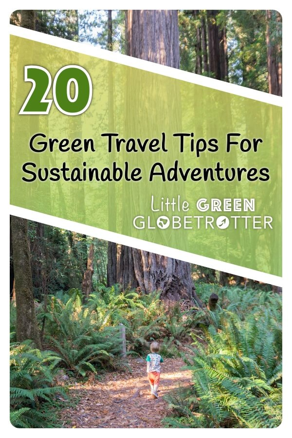 Pintrest image of a child walking through Rewood forest, and the title '20 Green travel tips for sustainable adventures' overlaid on top.
