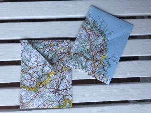 Photo of envelopes made from old maps of France
