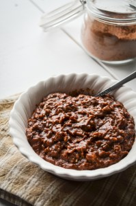 This Chocolate Peanut Butter Oatmeal is naturally sweetened with Maple Syrup and has a healthy dose of natural peanut butter for protein and flavor. This will be your new breakfast obsession!