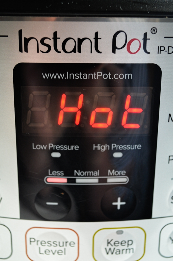 "An Instant Pot with the digital screen reading ""hot"""