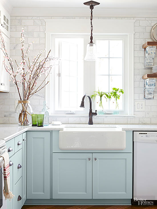 Baby Blue Kitchen Cabinets White Appliances And Marble