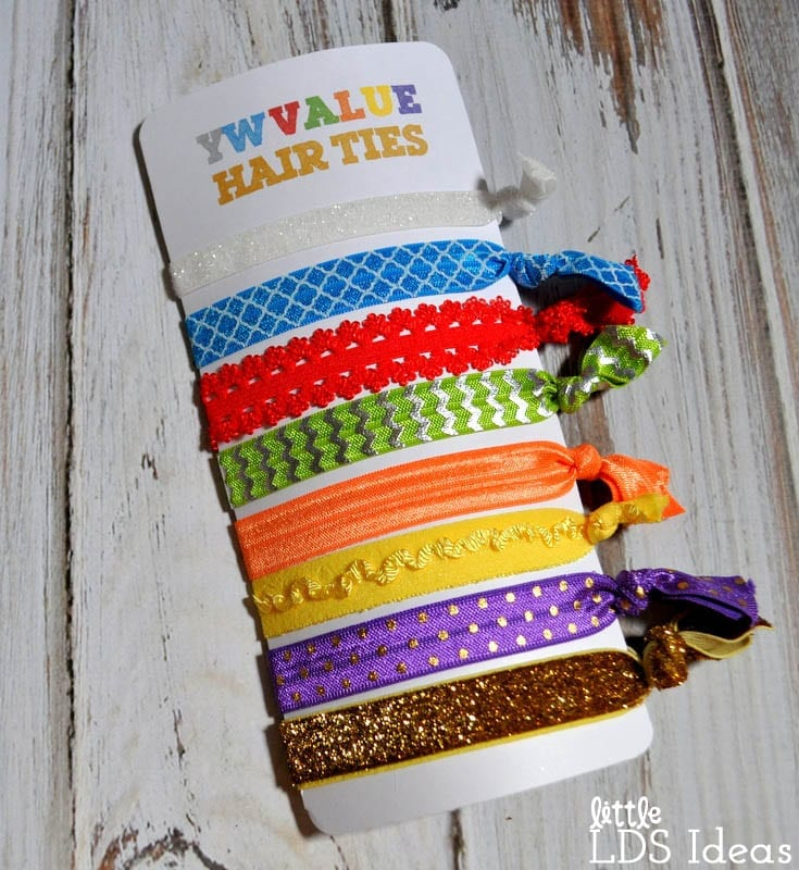 LDS YW Value Hair Ties. These cute Young Women Value Hair Ties would make the perfect gift for the Young Women in your ward. You could use them for Birthdays, incentives, and more!