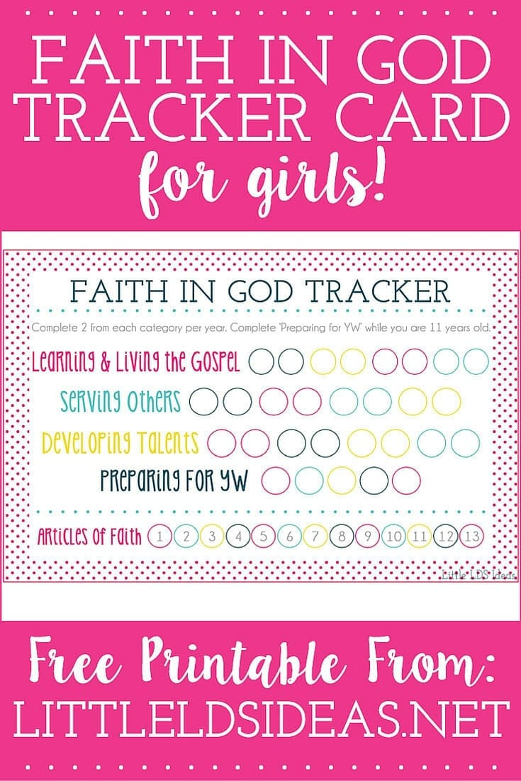 Faith in God Tracker Card for Girls. Need a fun Faith in God Tracker for your daughter or Activity Days group? These tracker cards from Little LDS Ideas are perfect! Free Printable!