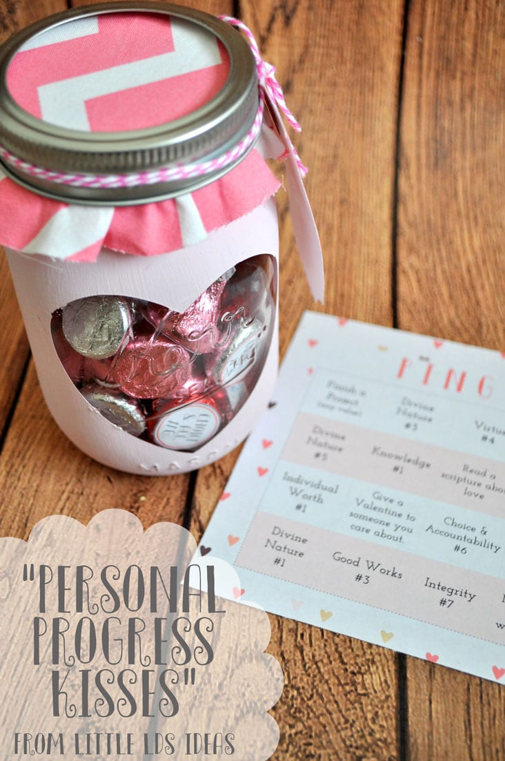Valentine Personal Progress Idea and printables from Little LDS Ideas. Help get the girls motivated to work on Personal Progress with this cute Valentine idea.
