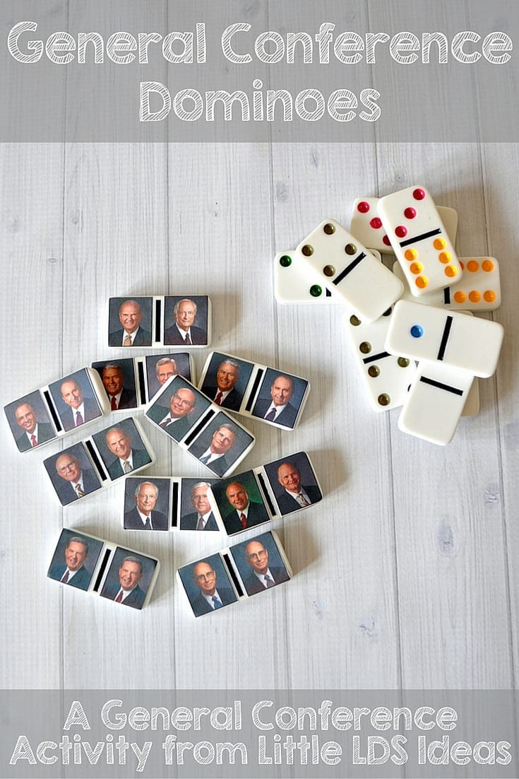 General Authority Dominoes. Memorize the member of the First Presidency and 12 Apostles with this fun domino game from Little LDS Ideas