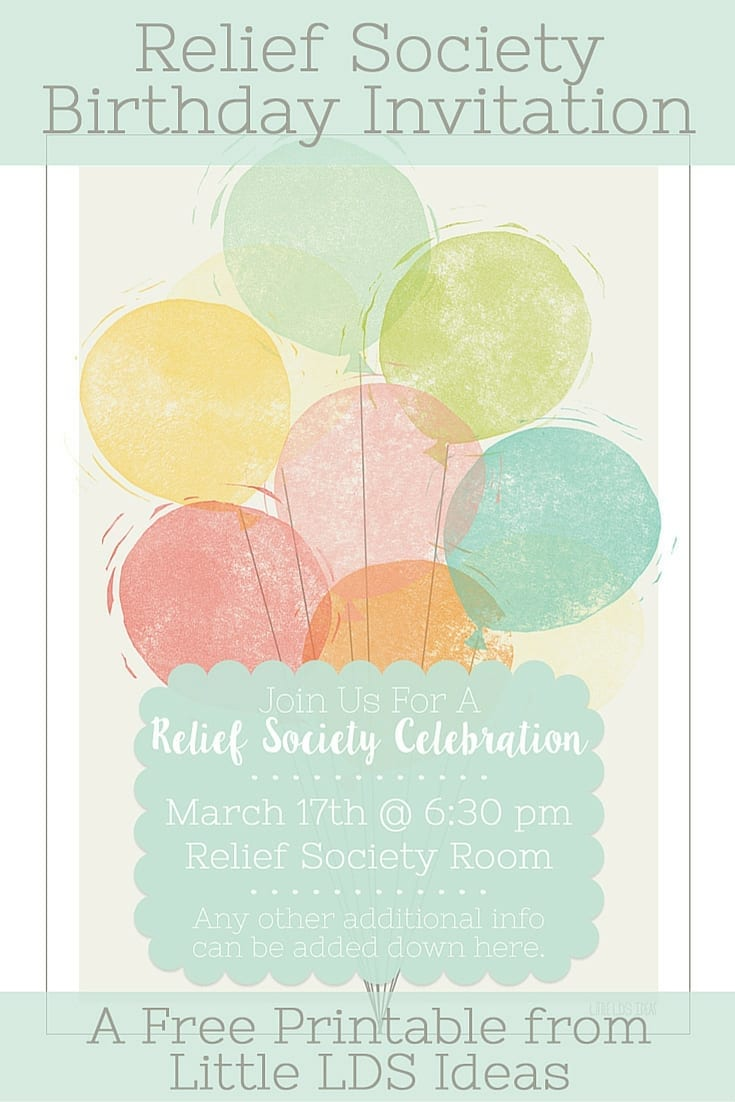 Relief Society Birthday Invitation printable from Little LDS Ideas