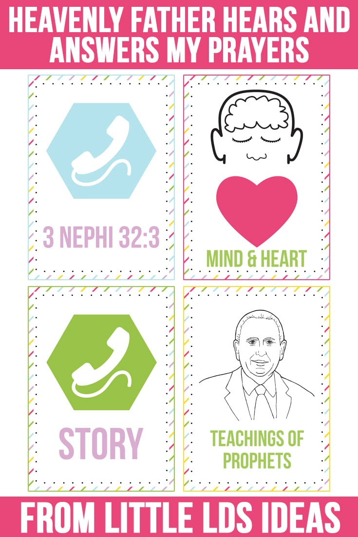 October 2016 LDS Sharing Time Ideas. Teach that Heavenly Father hears and answers our prayers with this fun matching activity. Free Printable on Little LDS Ideas.
