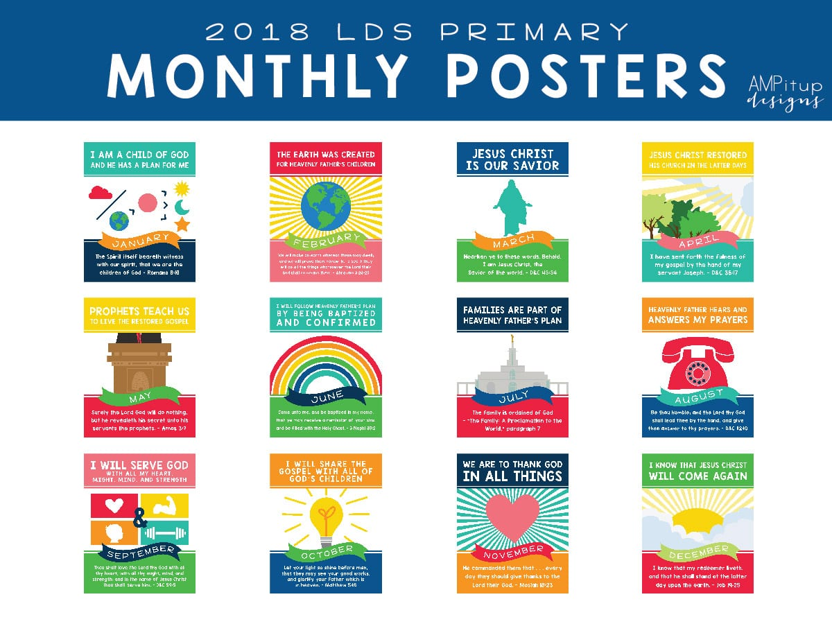 2018 LDS Primary Monthly Posters