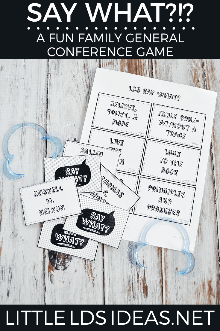Say What? General Conference Game. Prepare for General Conference with this fun LDS General Conference Game.
