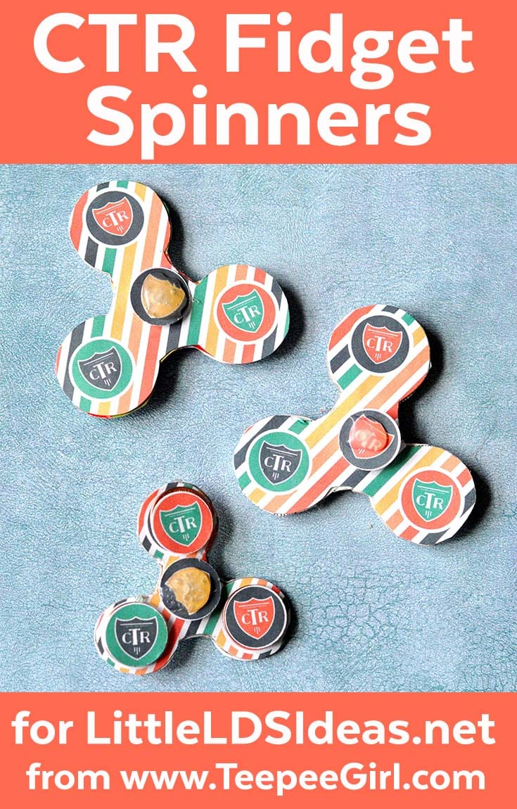 These CTR fidget spinners are so fun for kids! They are easy to make and are great for summer afternoons at home, church or scout activities, & gifts! Best of all, they only cost pennies to make, literally, :) Get the printable & instructions at www.LittleLDSIdeas.net.