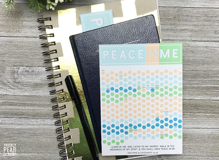 LDS Mutual Theme 2018 | Peace in Me | Book of Mormon Reading Challenge | Prickly Pear Design Co. for Little LDS Ideas | Free Reading Tracker & Bookmark Printables
