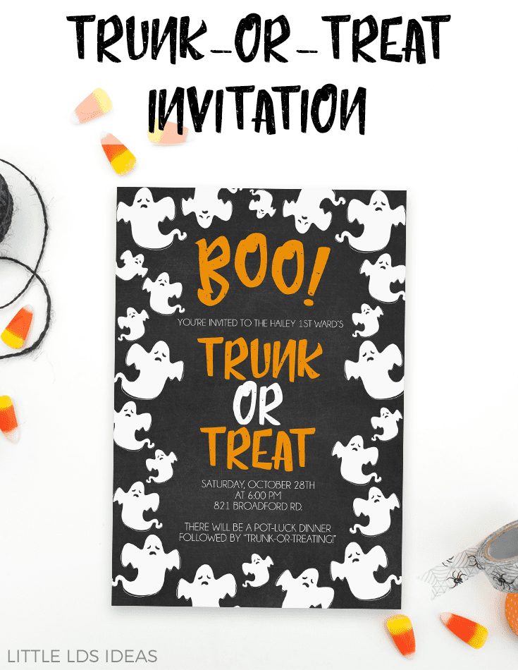Free Printable Trunk-Or-Treat Invitation from Little LDS Ideas.