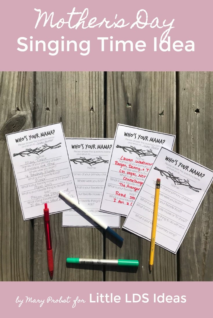 LDS Mother's Day Singing Time Idea from Mary Probst and Little LDS Ideas. This Mother's Day Singing Time Idea is the perfect activity to celebrate each child's Mother. Use the included printables to help plan the perfect Singing Time!