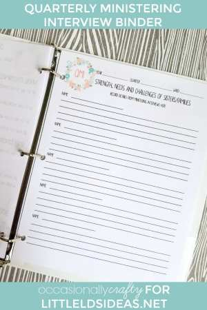 LDS Ministering Interview Binder Sheets