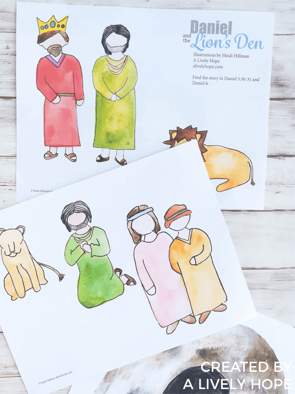 free bible stories daniel and the lion's den paper dolls paper set printable