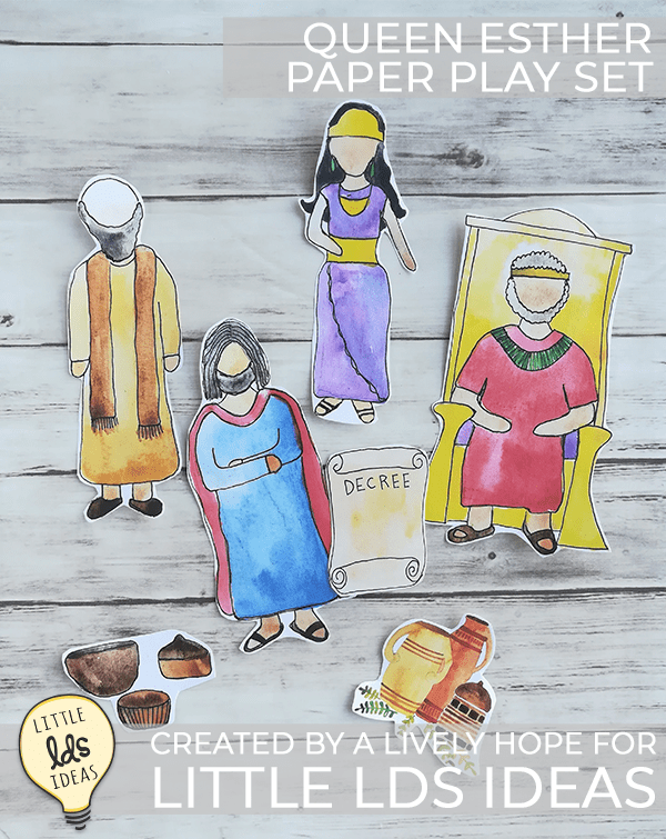 Queen Esther printable play set.  This hand-painted play set is perfect for Primary lessons, Family Home Evening or gospel discussions. #ldsfhe #ldsscripturestudy #ldsscriptures #scripturestudy #scriptureprintables #ldsprintables #ldslessonhelps