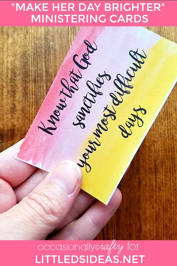 Sometimes all it takes is a small act of kindness to brighten someone's day.  Print out or text a picture of these Ministering Quote Cards and show someone you care!