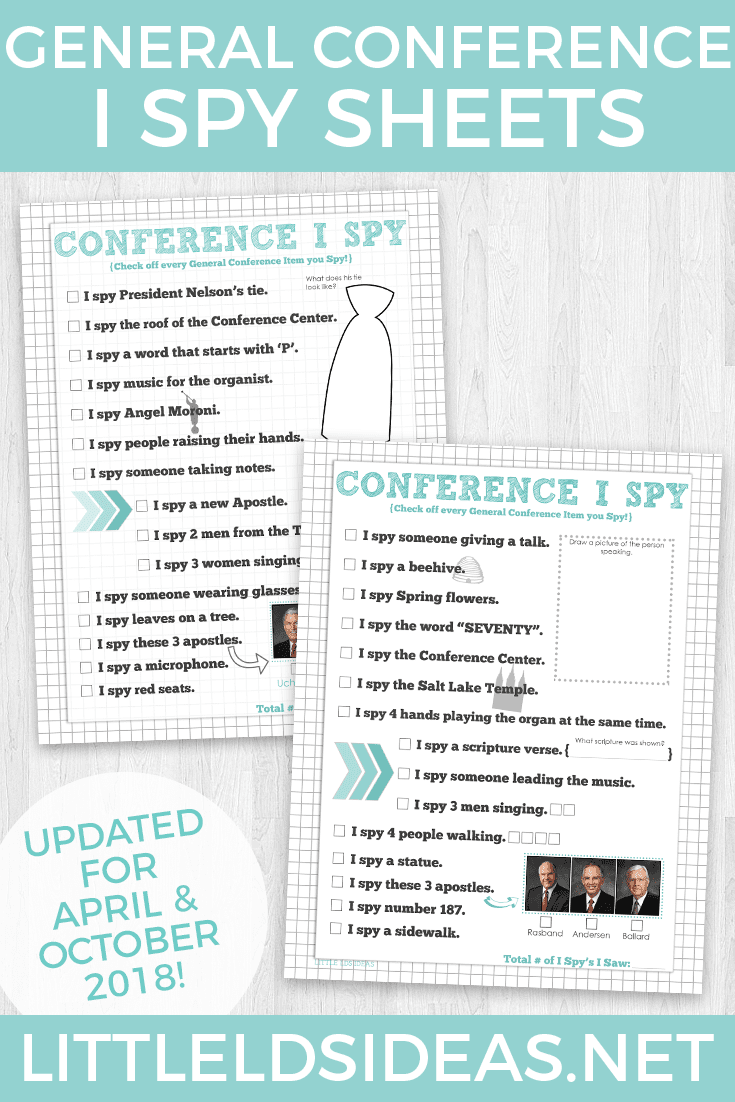 General Conference I Spy Sheets