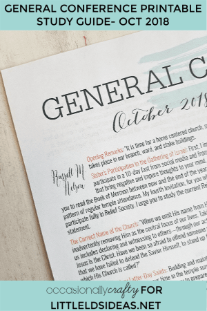 General Conference Printable Study Guide October 2018