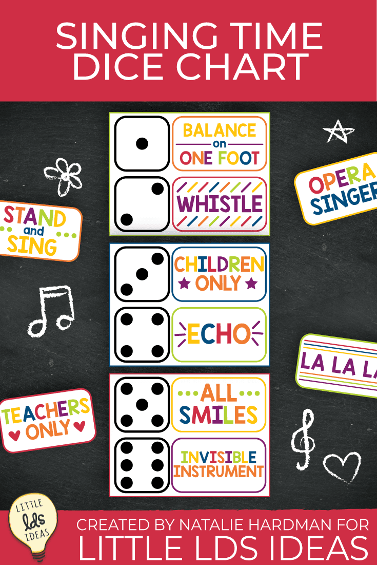 Engage your Primary children with this colorful Singing Time Dice Chart! These free printables will help you the entire year and keep the children excited to learn and review songs. #ldsprintables #sharegoodness #singingtime