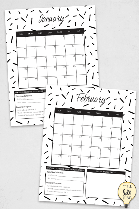 Young Women 2019 Monthly Calendar Sheets
