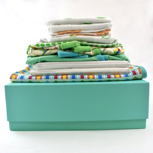 Large Gift Box with a collection of beautifully soft baby clothes from LittleLeaf Organic Cotton