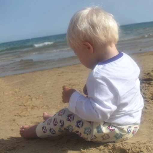 Organic Cotton Camper Van Leggings by LittleLeaf Sitting On The Beach