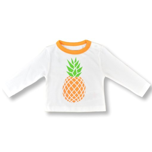 Organic Cotton Pineapple T-Shirt by LittleLeaf Face On View