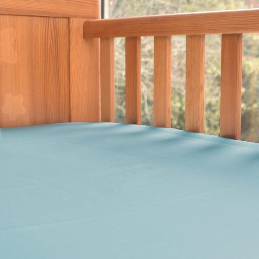 Fitted Organic Cotton Cot Bed Sheet in Aquamarine, Ethical Bedding for Baby