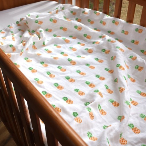 100% Organic Cotton Swaddle with Pineapple Design by LittleLeaf for the Ethical Baby