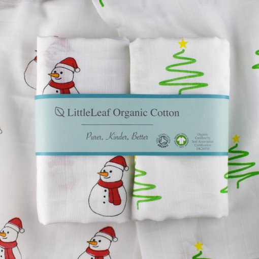 Christmas Muslin Two Pack 100% organic cotton baby muslin in Christmas designs for gifts GOTS and Soil Association certified