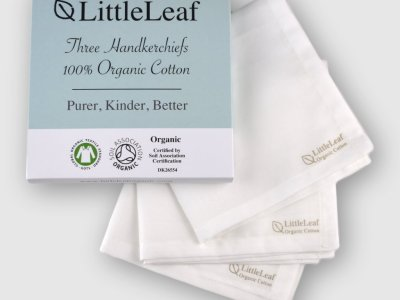 Three Pack White Organic Cotton Handkerchiefs, GOTS and Soil Association Certified, sustainably and ethically made by LittleLeaf