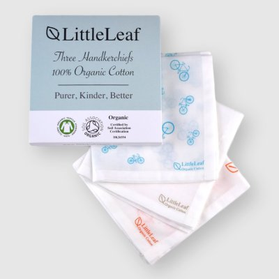 Three Pack of Mixed Print Organic Cotton Handkerchiefs, GOTS and Soil Association Certified, sustainably and ethically made by LittleLeaf