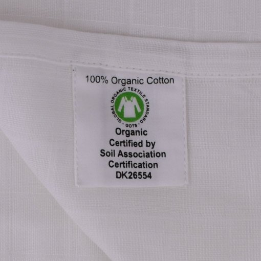 White Muslin GOTS label