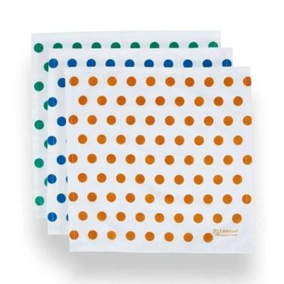 Three LittleLeaf Spot Print Organic Cotton Handkerchiefs