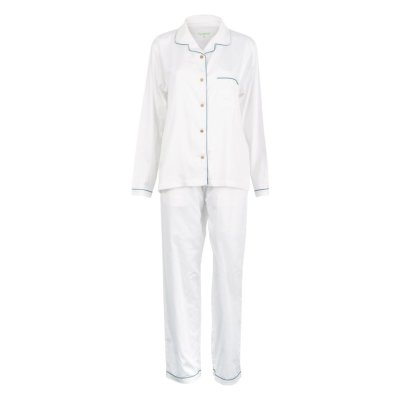 LittleLeaf White with Moroccan Blue Piping Women's Pyjamas