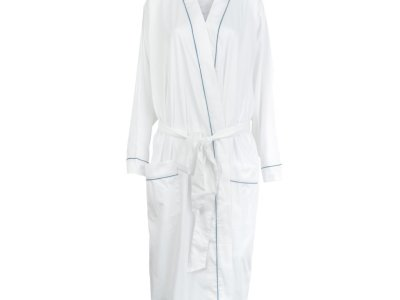 LittleLeaf White with Moroccan Blue Piping Robe