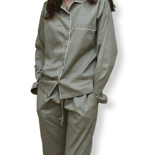 LittleLeaf Olive Green Women's Pyjamas with White Piping