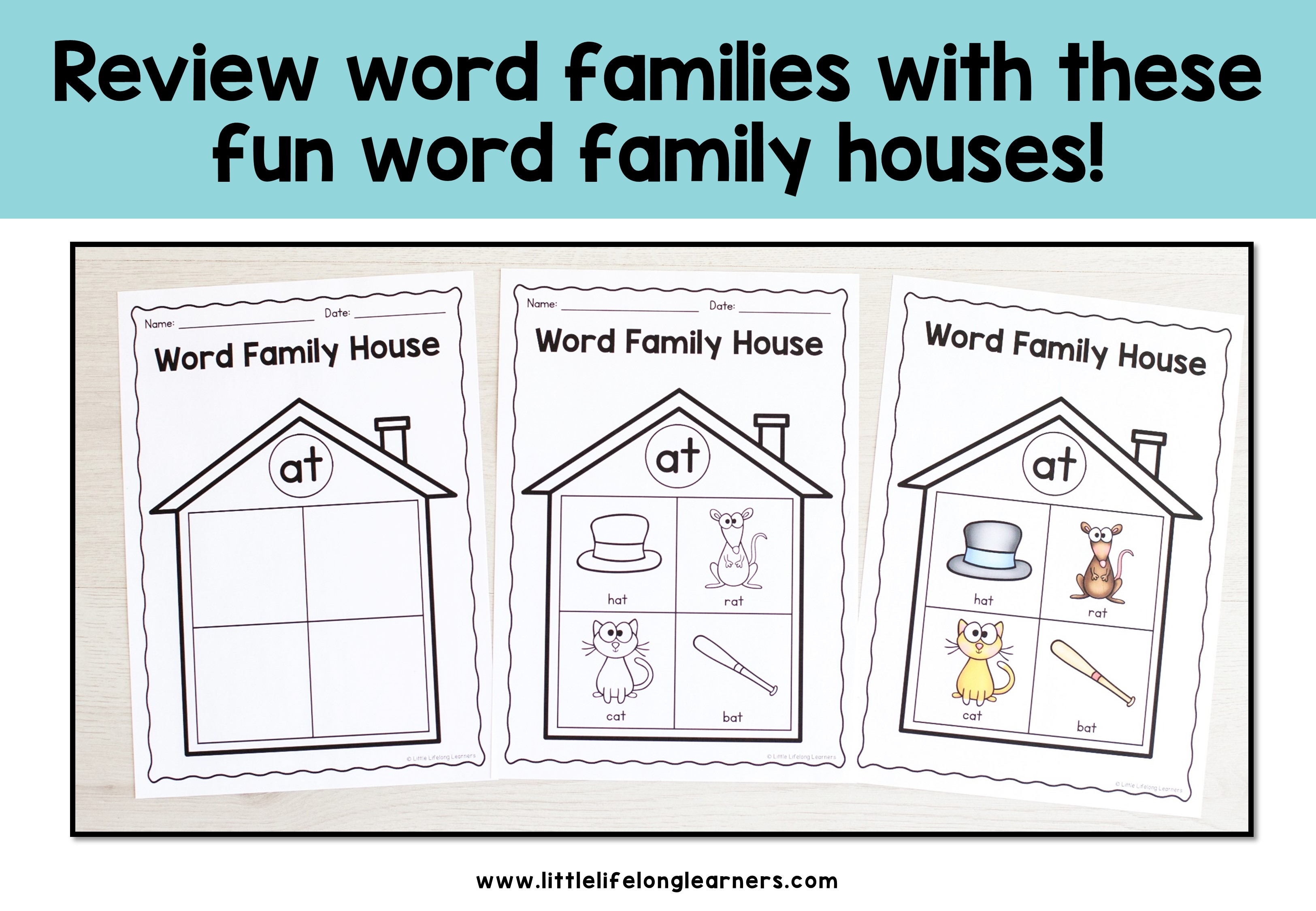 Printable Word Family Houses